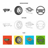 Caravan, Wheel With Tire Cover, Mechanical Jack, Steering Wheel, Car Set Collection Icons In Flat, O poster
