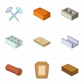 Building Material Icons Set. Cartoon Set Of 9 Building Material Icons For Web Isolated On White Back poster