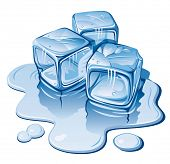 picture of ice cube  - Stylized ice cubes on white background - JPG