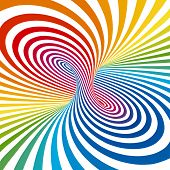 Rainbow stripes projection on torus. Vector illustration