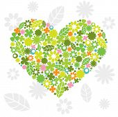 image of heart shape  - Green Heart Made of Flowers and Leaves - JPG