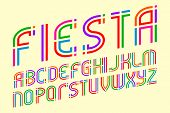 Fiesta Alphabet. Colorful Festive Letters Font. Isolated English Alphabet. poster