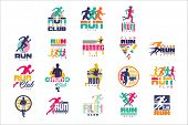 Run Sport Club Logo Templates Set, Emblems For Sport Organizations, Tournaments And Marathons Colorf poster
