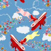 Background with biplane throwing gifts