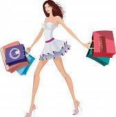 picture of beautiful brunette woman  - Chic lady with shopping bags - JPG