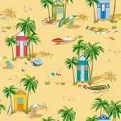 Background with beach huts