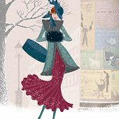 Vintage christmas card with elegantly dressed woman with box walking down the street in blizzard