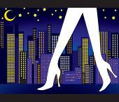 image of high-heels  - Sexy legs with night city - JPG