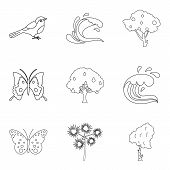 Melting Icons Set. Outline Set Of 9 Melting Icons For Web Isolated On White Background poster