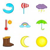 Moderate Climate Icons Set. Cartoon Set Of 9 Moderate Climate Icons For Web Isolated On White Backgr poster