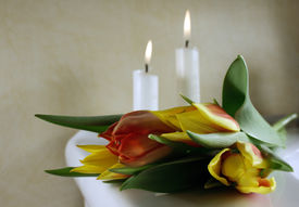 foto of funeral  - Tulips in red and yellow with candles behind for wedding or funeral