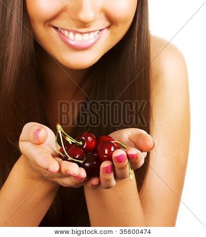 beauty woman with  cherries on white
