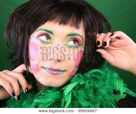 crazy woman with creative visage