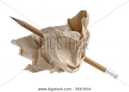 Pencil In A Crumpled Recycled Paper