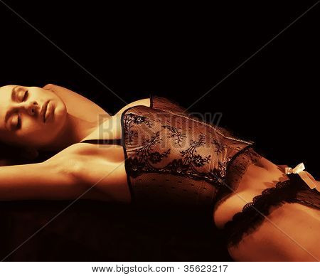 Atractive woman in sexy lingerie