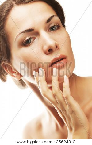 Beautiful health woman face with clean purity skin