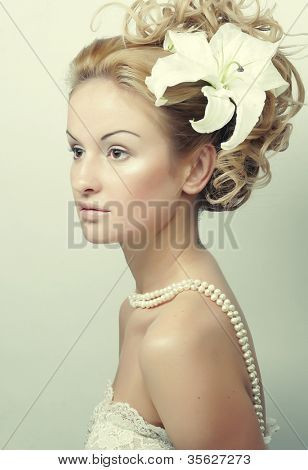 Girl with a flower in her hair