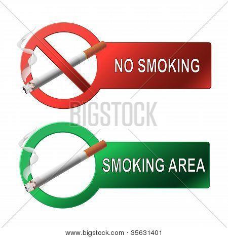 The sign no smoking and smoking area
