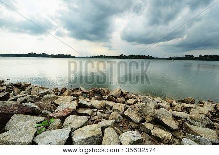 Horizonte no reservatório superior Seletar
