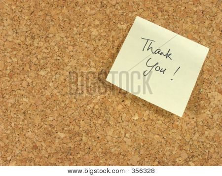 Thank You Note On Corkboard