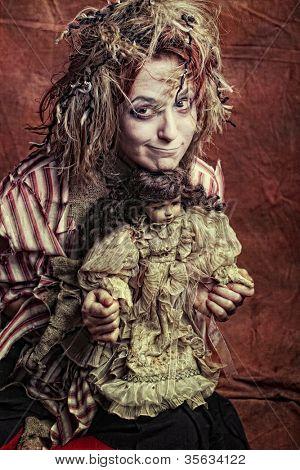 artistic woman crazy with teddy bear