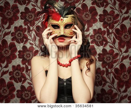 Portrait of a young woman wearing mask