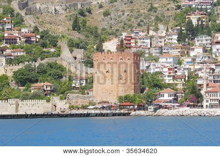 Alanyas' mediterranean coastline and Ottoman castle
