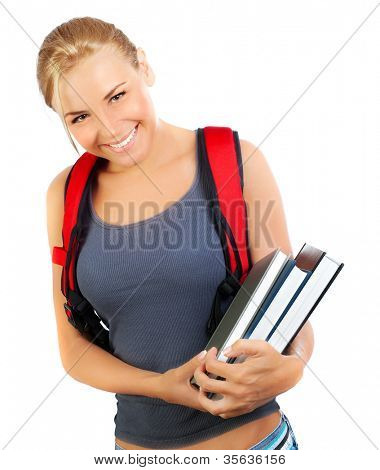 Happy student closeup, cute girl holds books, portrait of a pretty casual teen with big cheerful smile, young female isolated on white background, education and back to school concept, youth lifestyle