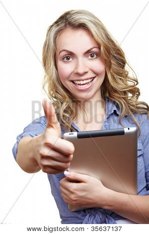 Happy blonde woman with tablet computer holding her thumbs up