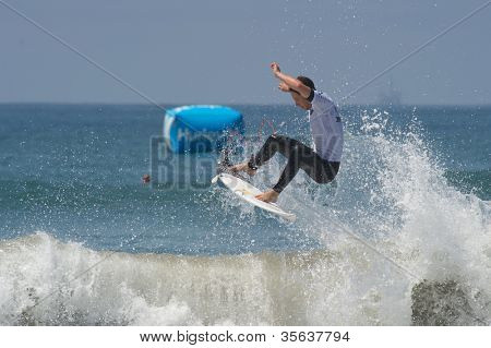 HUNTINGTON BEACH, CA - AUGUST 2: Nathaniel Curran competes in the Nike US Open of Surfing in Huntington Beach, CA on August 2, 2012