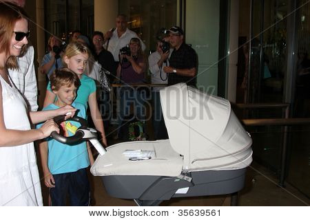 LOS ANGELES - AUG 2:  Kelsey Grammer's wife, baby, and children with Camille arrives at the Cable TCA Press Tour at Beverly Hilton Hotel on August 2, 2012 in Beverly Hills, CA