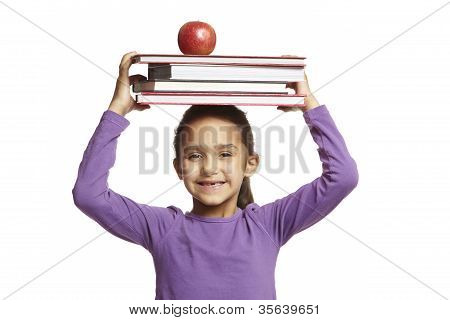 8 Year Old School Girl With School Books On White Background