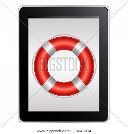 Tablet Computer With Life Buoy, Isolated On White Background, Vector Illustration