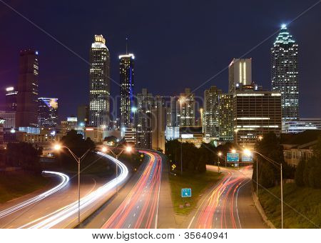 Downtown Atlanta, Georgia from above Freedom Parkway.