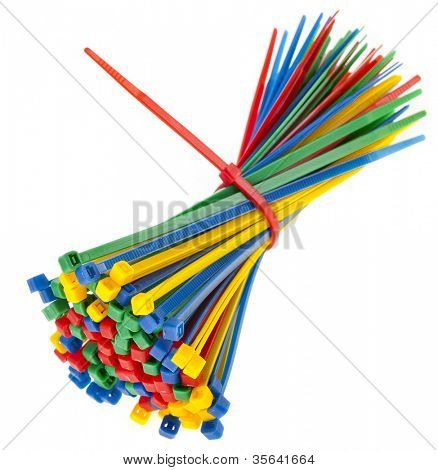 color cable ties isolated against white background