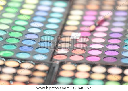 Eye shadows palettes. Shallow DOF