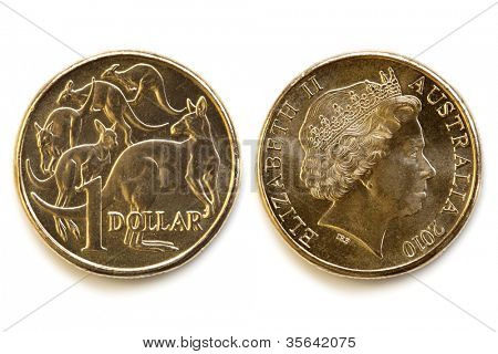 Australian dollar coin, front and back, isolated on white background with soft shadow.