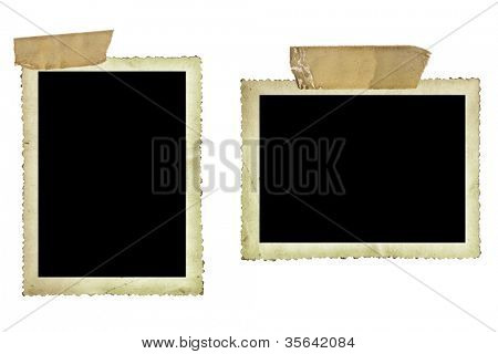 Vintage photo borders fastened with old sticky tape, isolated on white.