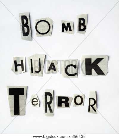 blackmail message: bomb - hijack - terror. newspaper letter cutouts. puzzle