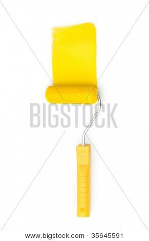 Yellow painting roller paints with yellow ink, isolated on white