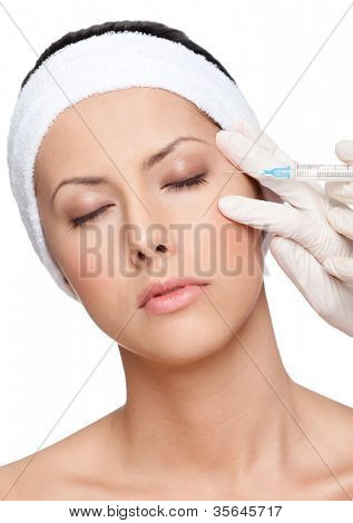 Applying eyelid correction, isolated, white background