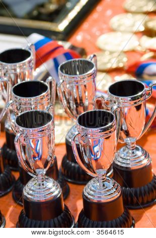 Cups, Golden Medals And Russian Tricolor - Symbol Of Victory!