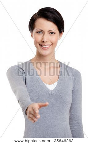 Hand shake gesture, isolated on white