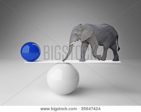 elephant and  ball  in false balance