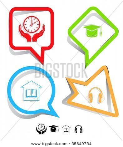 Education icon set. Headphones, clock in hands, graduation cap, library. Paper stickers. Raster illustration.