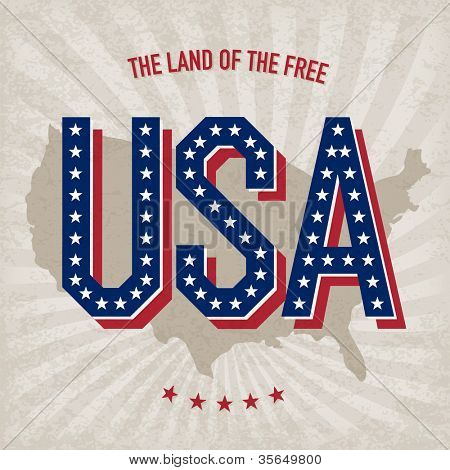 USA abstract poster design. Raster version, vector file available in portfolio