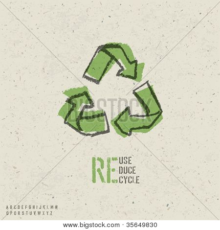 Reuse, reduce, recycle poster design.  Include reuse symbol image, seamless reuse paper texture in swatch palette and stencil alphabet. Raster version, vector file available in portfolio