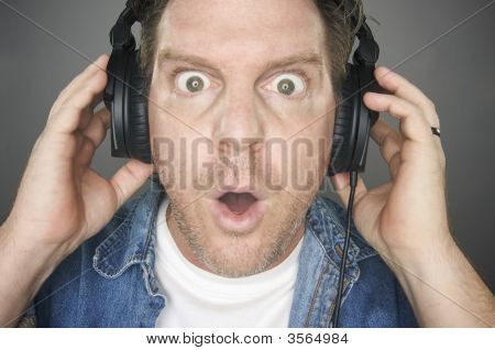 Shocked Man Wearing Headphones