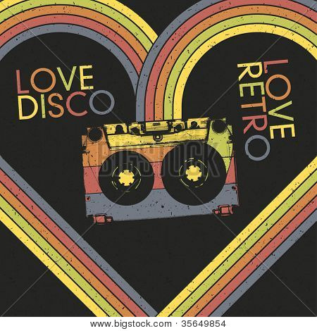 Love Disco, Love Retro. Vintage poster design template. Raster version, vector file available in portfolio