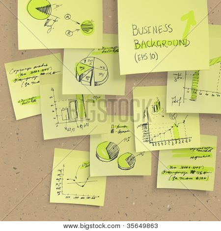 Yellow sticky notes with business infographics on cork board, closeup. All elements editable (available under clipping mask). Raster version, vector file available in portfolio